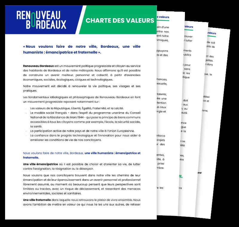 Charte des valeurs de Renouveau Bordeaux